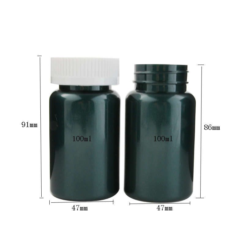 100ml 100cc Plastic Health Care dark green  Pill Tablet Capsule Bottle