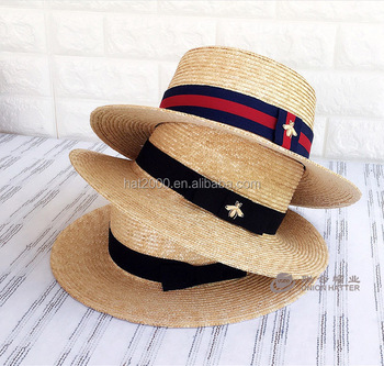 Free Samples custom wholesale cheap wide brim natural colorful burket  school straw boater hat 715588f1456