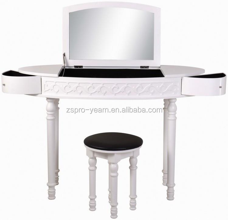 Tocador maquillaje tocador con espejo y taburete de madera for Espejos en la pared del dormitorio