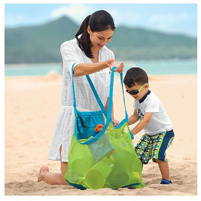 Beach bag with mesh pocket for promotion