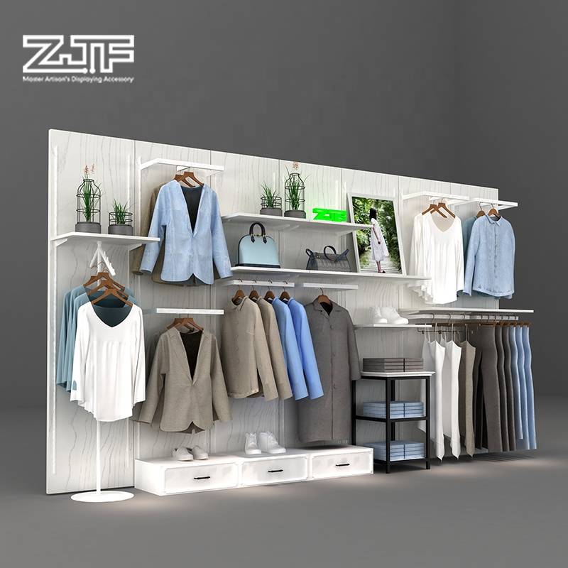 <strong>Retail</strong> men's clothes stores wooden shelf display wall clothing shop furniture design