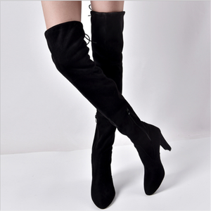 H10182B cheap wholesale lady winter over knee suede boots