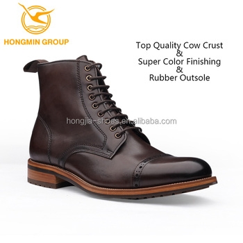 high neck leather boots