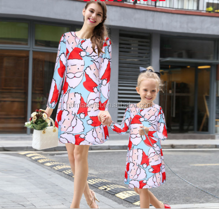2017 New Model Christmas Frock Designs Father Christmas Deer Printed Mommy And Me Matching Clothing Mother And Child Dress