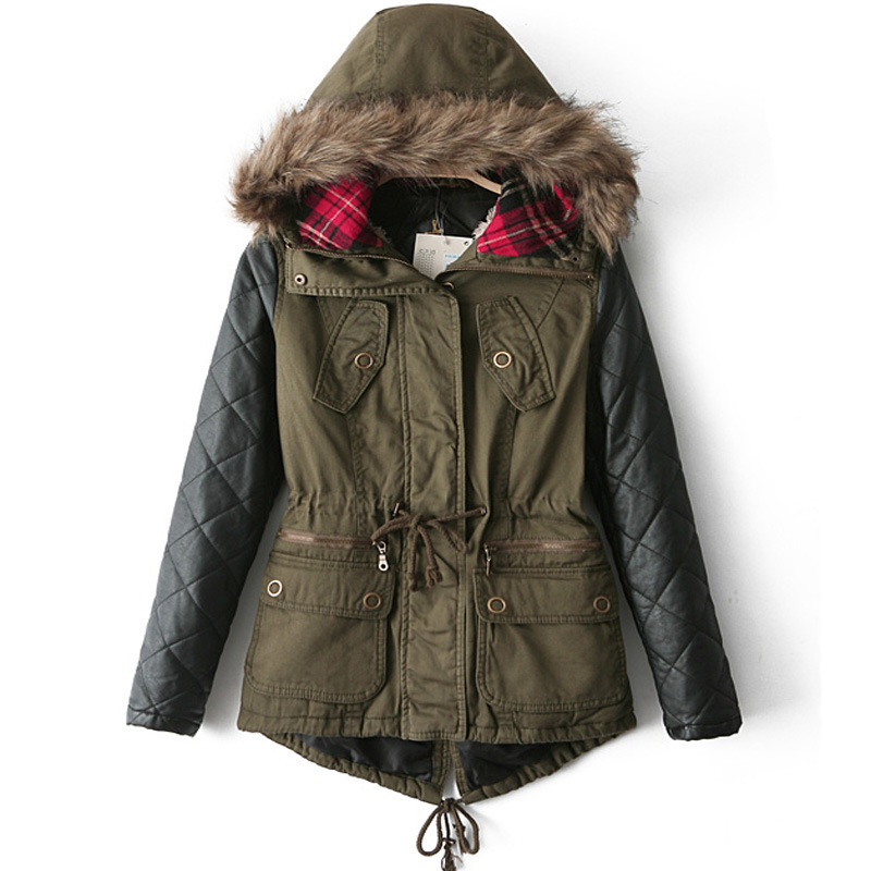 Green Parka Coat With Leather Sleeves - Coat Nj