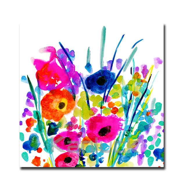 Flowers Painting Print on Wrapped Canvas / Modern Beautiful Wall Art for Home decor