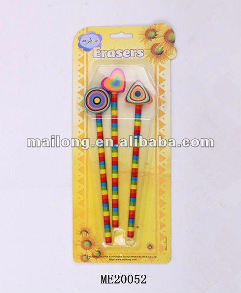 Wooden pencil with cartoon eraser on top stationery set for promotonal children