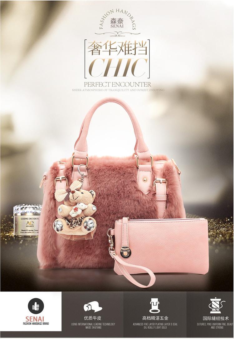 50063bab11af Bolsas Feminina Faux Fur Women Bag Faux Rabbit Hair Fur Women ...