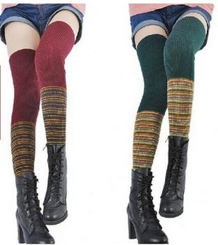 3ecb511c0ac Women s Thigh High Boot Socks Leg Warmers Colorful Knit Pattern Long socks