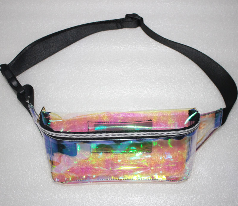 SUPER JOURNEYING PVC Holographic Fanny Pack Water Resistant Shiny Neon Waist Pack Travel Laser TPU Hologram Bum Bag