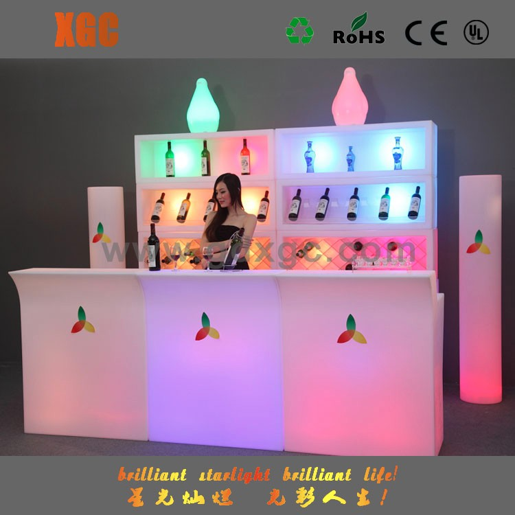 Commercial outdoor leisure Illuminated LED glowing bar table