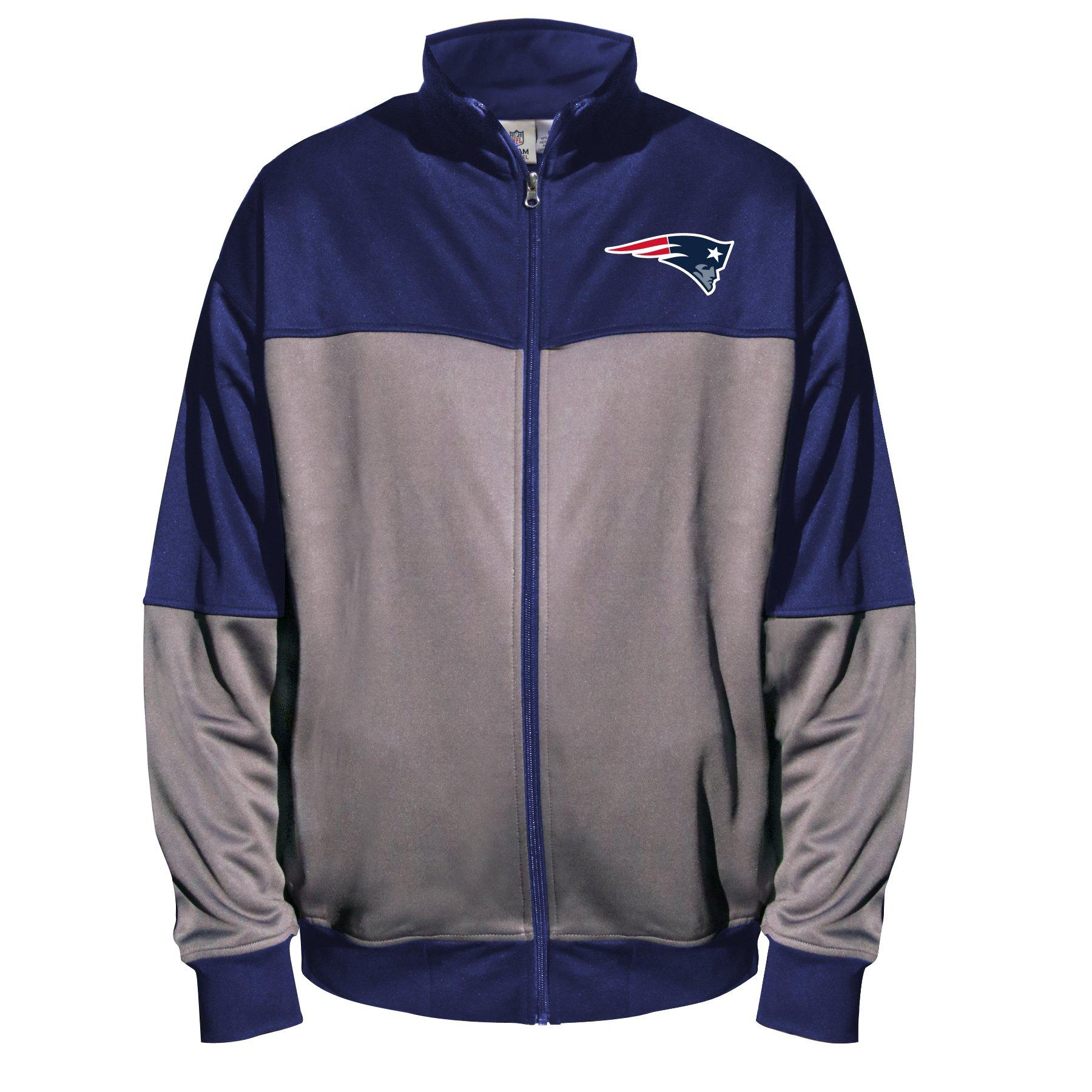 NFL New England Patriots Unisex Poly Fleece Track Jacket, Charcoal/Navy, 3XT