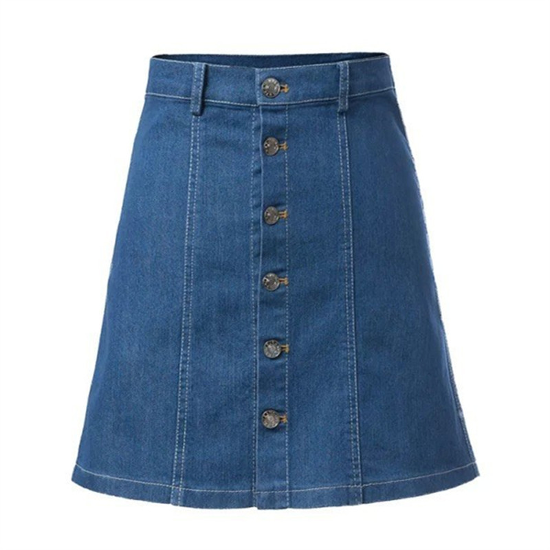 62ef0da0ef Get Quotations · Summer Style Womens Skirts Jeans A-Line Denim Mini Button  Sexy High Waist Clebrity Skirts