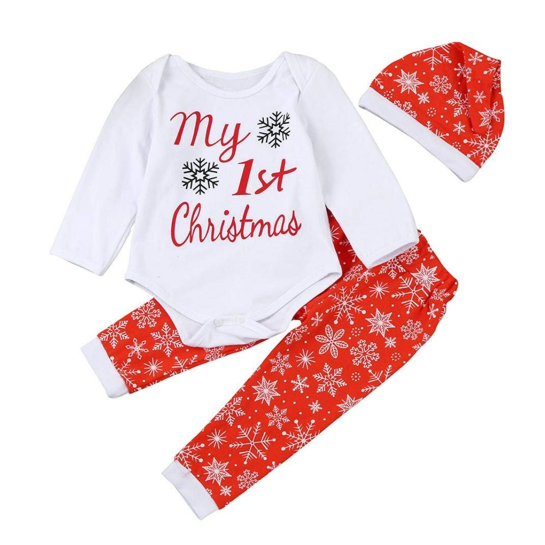68d2fcfdcfa Get Quotations · Gotd Newborn Baby Boy Girl 3pcs Set Outfits Christmas  Clothes Romper Tops+Pants+Hat