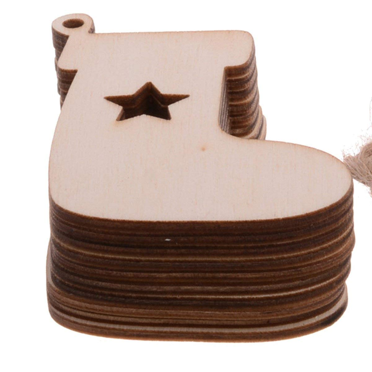 Pack Of 10 Wooden Stocking Boots Kids Crafts Christmas Tree Ornaments Hanging Decoration