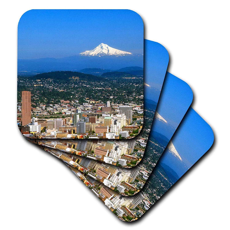 3dRose cst_93477_1 USA, Oregon, Portland. City Skyline and Mt. Hood-Us38 Bja0166-Jaynes Gallery-Soft Coasters, Set of 4