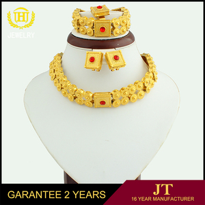 Dubai Fashion Jewellery Designs 18K Gold Wedding Jewelry Set