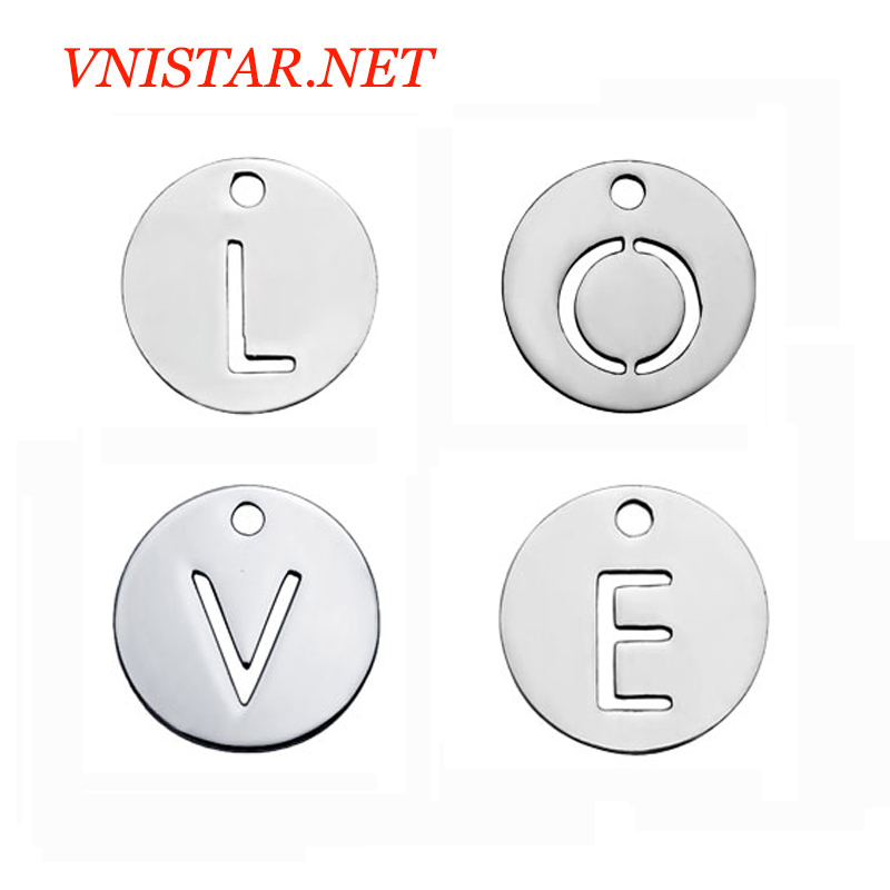 Factory Wholesale Stainless Steel Laser Cutting English Letter Alpabet <strong>Charms</strong> Words Love Faith Hope Soul Best Mom Dream <strong>Charms</strong>