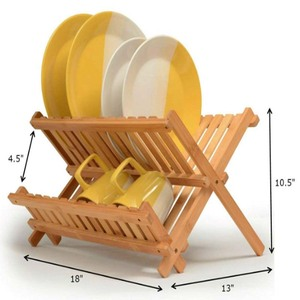 Bamboo Dish Rack Folding Dish Drainer Wooden Plate Rack Collapsible Drying Rack. Made of 100% Natural Bamboo