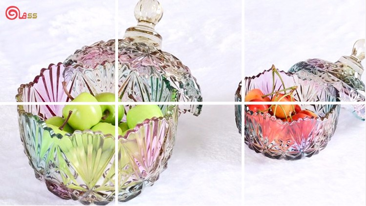 Vintage carving decorative big crystal glass candy jars with glass lid