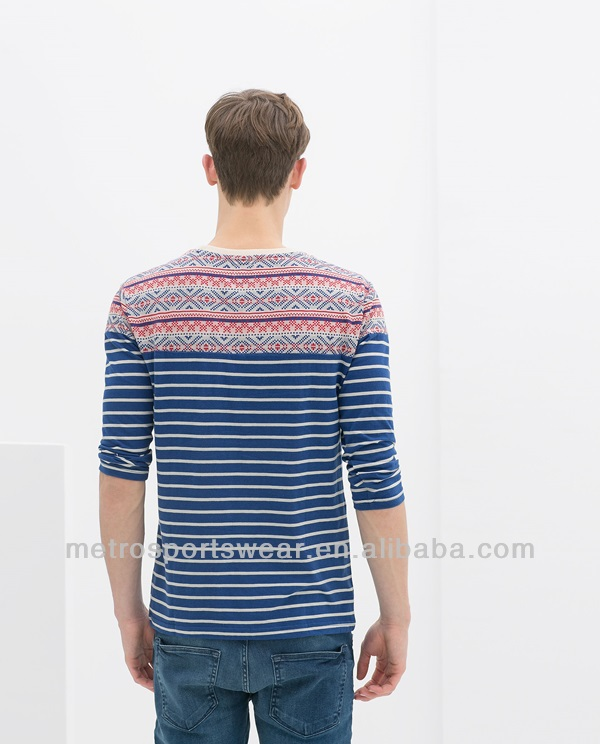 Striped long sleeve t shirt for men