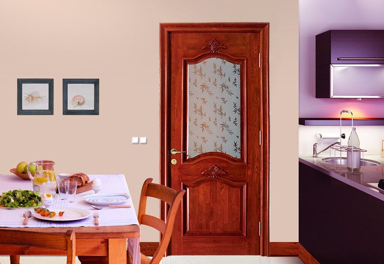 Hot Sale Kitchen Entrance Wooden Glass Door With Single Carving