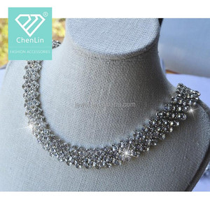 Crystal Banding Chain Hotfix/ Rhinestone Crystal Cup Chain /Iron On white Strip for clothes Decorations