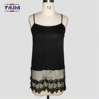 Ladies fashion lace cotton spandex camisole underwear sleeveless breathable tank top woman