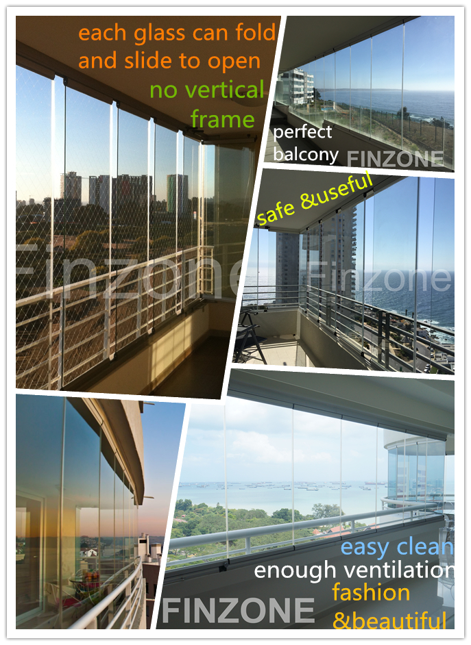 fashion style frameless window system for balcony glazing export to Thailand