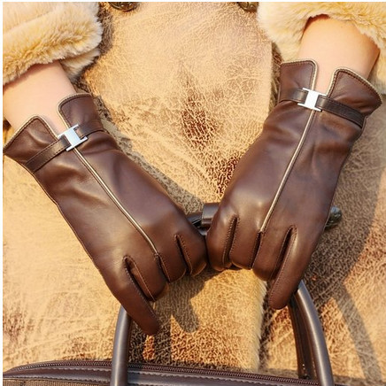Women Warm Lined Sheepskin Leather Cold Weather Gloves