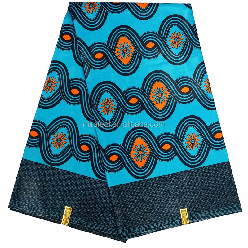 Hot sale fashionable african blue color small flower pattern wax prints 100% cotton fabric for women dress