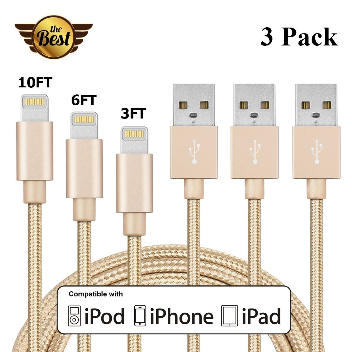 Apple Lightning Cable, [3 Pack] Qiwooode iPhone Cable 3FT 6FT 10FT Nylon Braided 8 Pin Cord Lightning to USB Charging Cable for iPhone 7/7 Plus/6S/6S Plus,SE/5S/5,iPad,iPod (Gold)