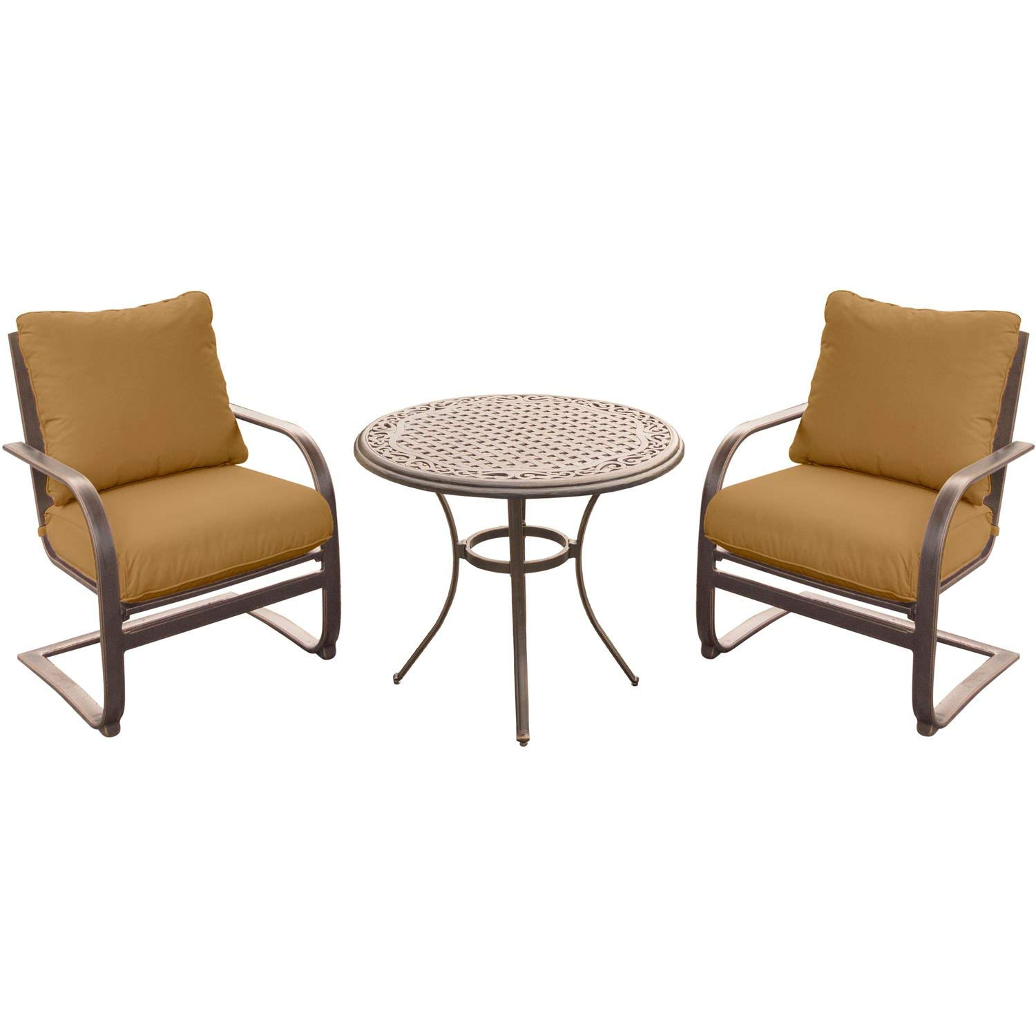 """Hanover Summer Nights 3 Piece Chat Set with Two C-Spring Chairs and a 32"""" Cast-top Table"""