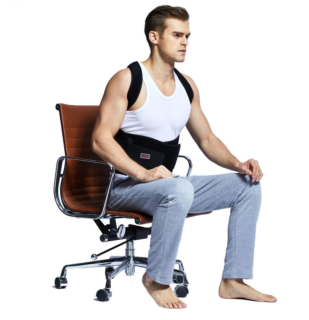 Udoarts Ajustável Back Support Posture Corrector Brace Com Talas de Aço Removível