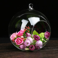 custom glass ball vase with metal stand wholesale