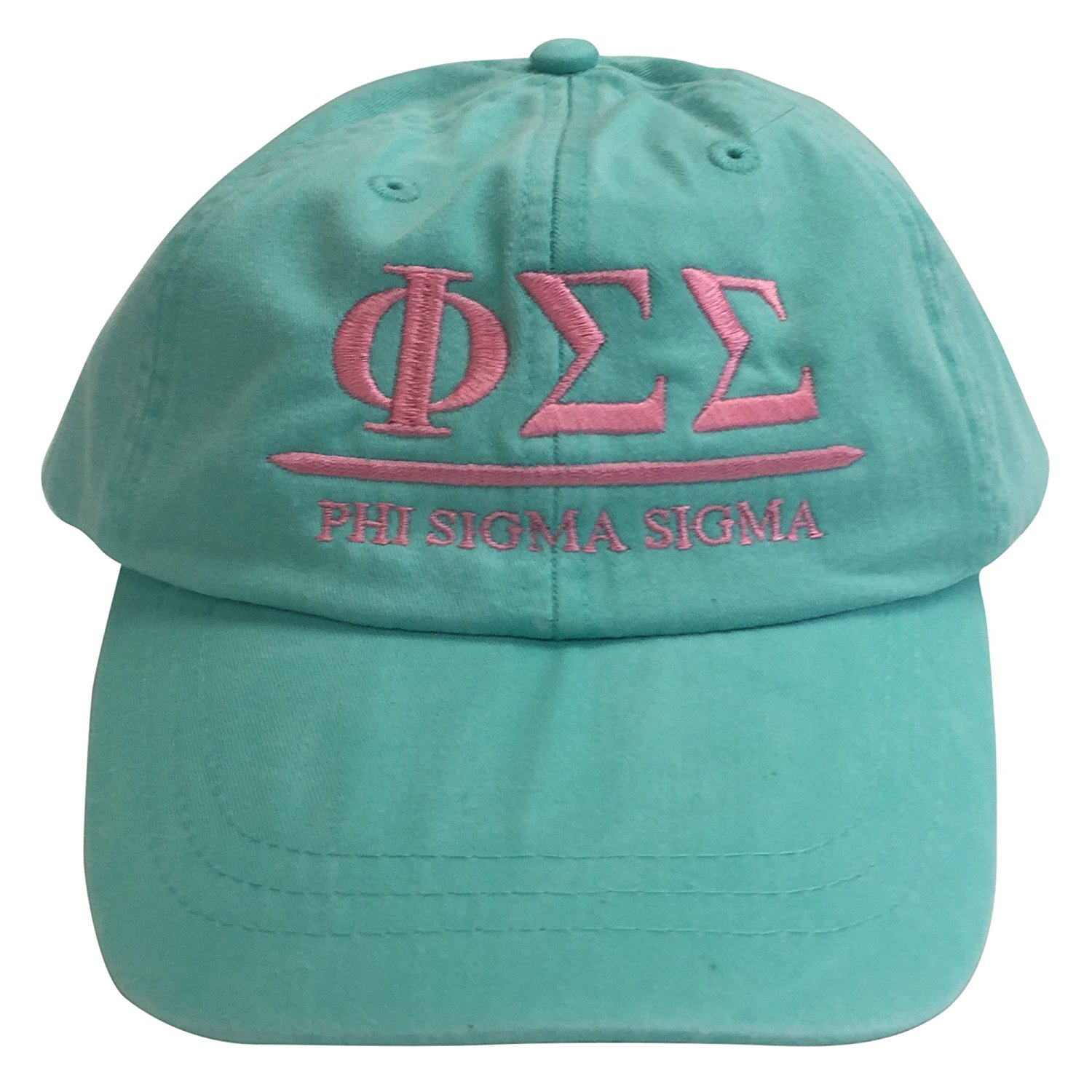 cfb49e4ad55 Get Quotations · Phi Sigma Sigma (B) Sea Foam Hat with Coral Thread  Sorority Baseball Hat Cap