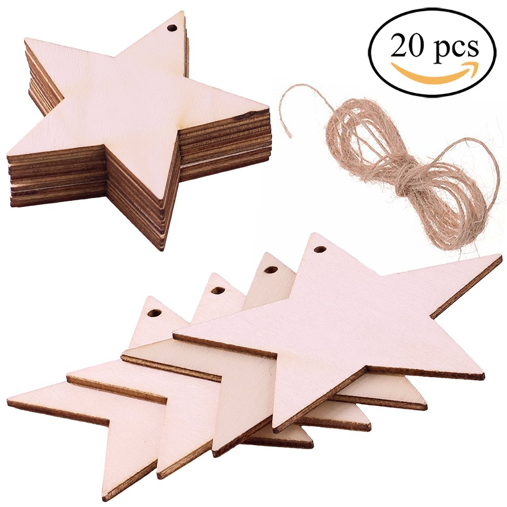 Supla 20 Pcs Wood Tag Unfinished Wooden Star Cutouts with string for Kids Crafts Christmas Tree Ornaments Hanging Gift Tags Accent