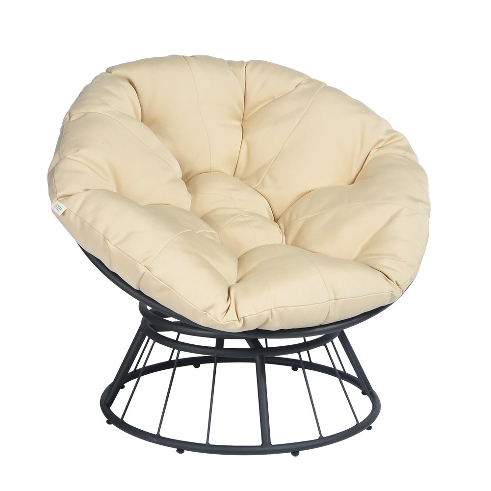 ART TO REAL Papasan Chair with Soft Cushion, Outdoor Patio Deluxe 360 Swivel Glider, Deep Seating Moon Chair, Solid Twill Fabric Khaki Cushion