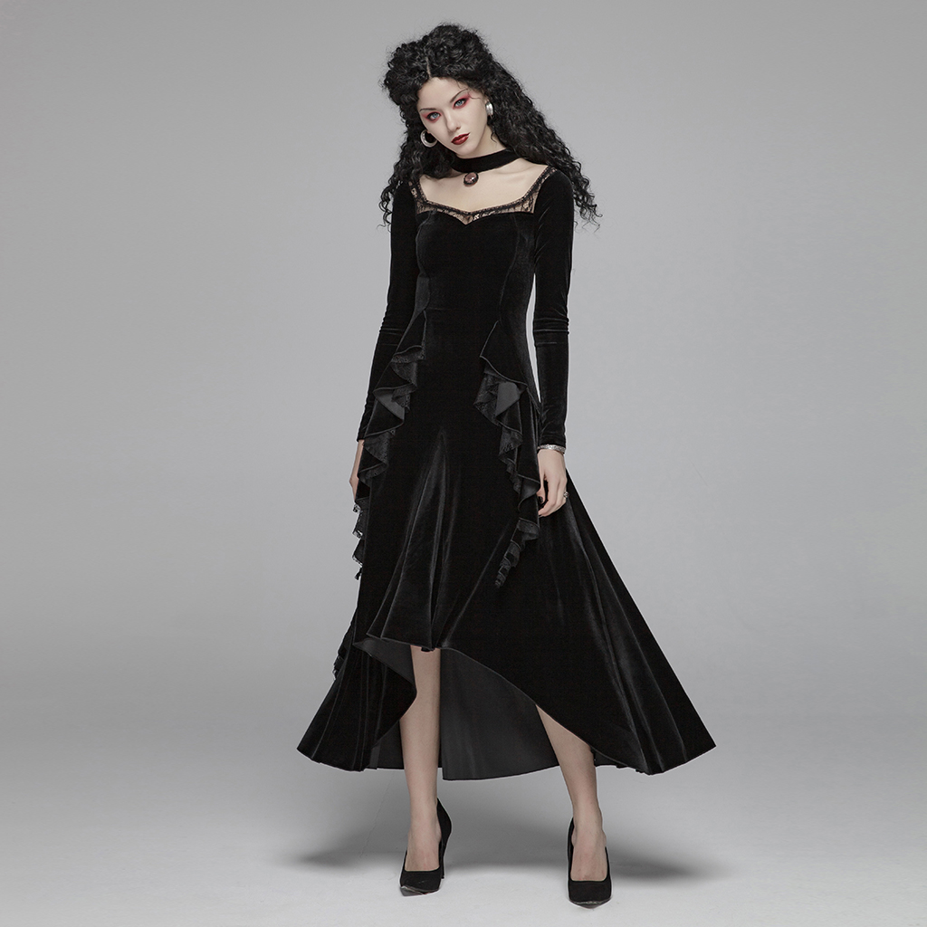 OQ-417LQF 2019 Langarm Kleid gothic party Kleid frauen Kleider Abendkleider