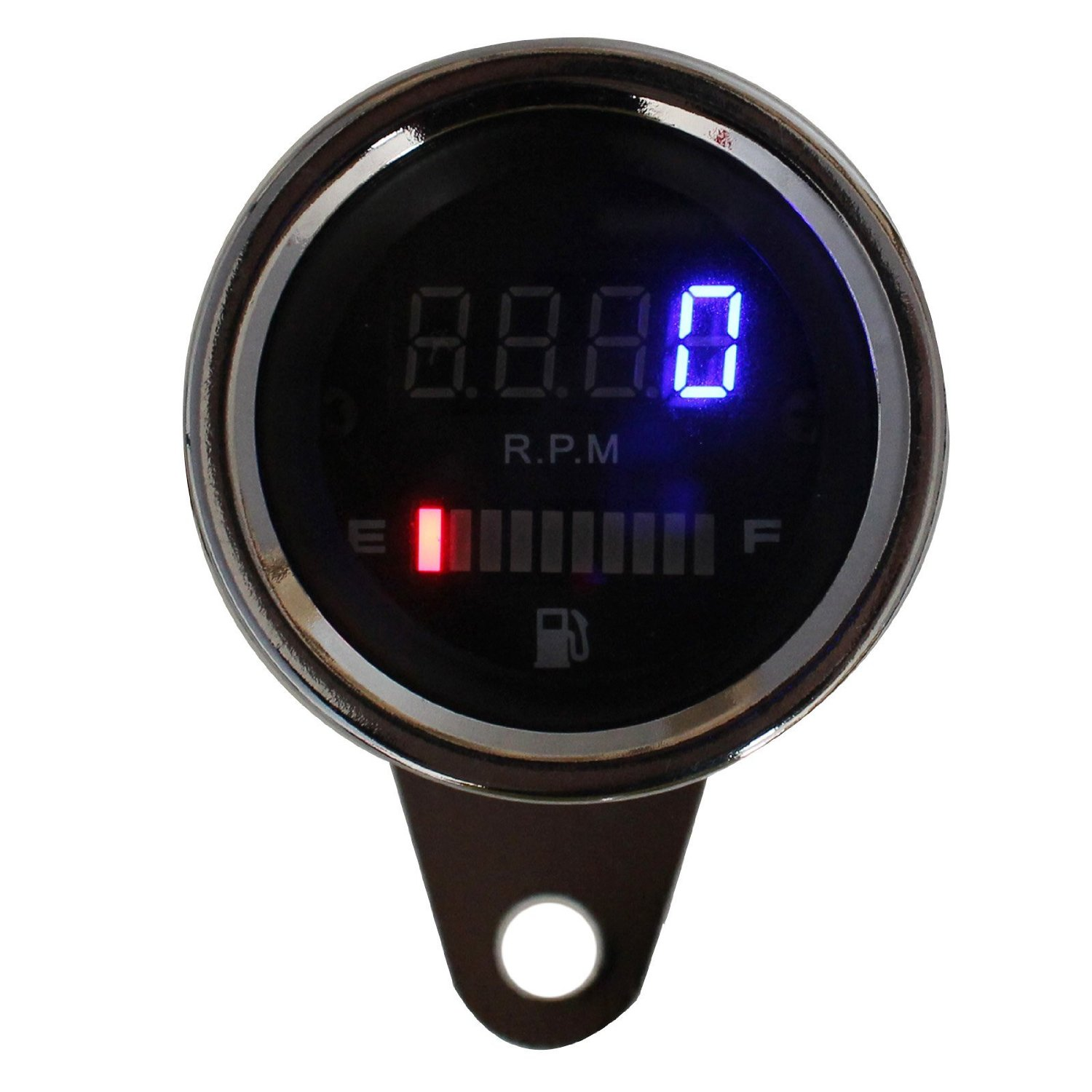 Qiilu Universal Motorcycle LED Digital Speedometer Motorcycle Tachometer Speed Gauge Oil Level Meter Black