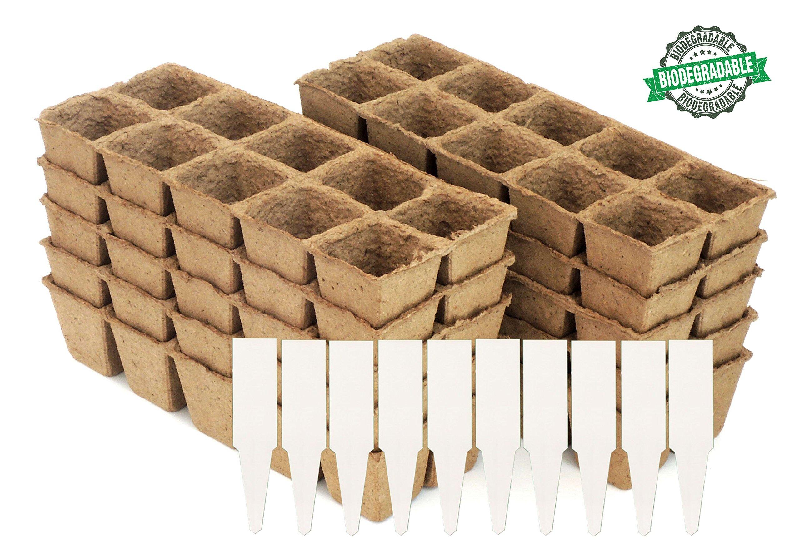 Peat Pot Seedling Starter Trays   Seed Germination Kit - Organic Biodegradable Pots 100% Eco-Friendly Enhance Aeration   BONUS 10 Plastic Plant Markers - 100 Cell Pack