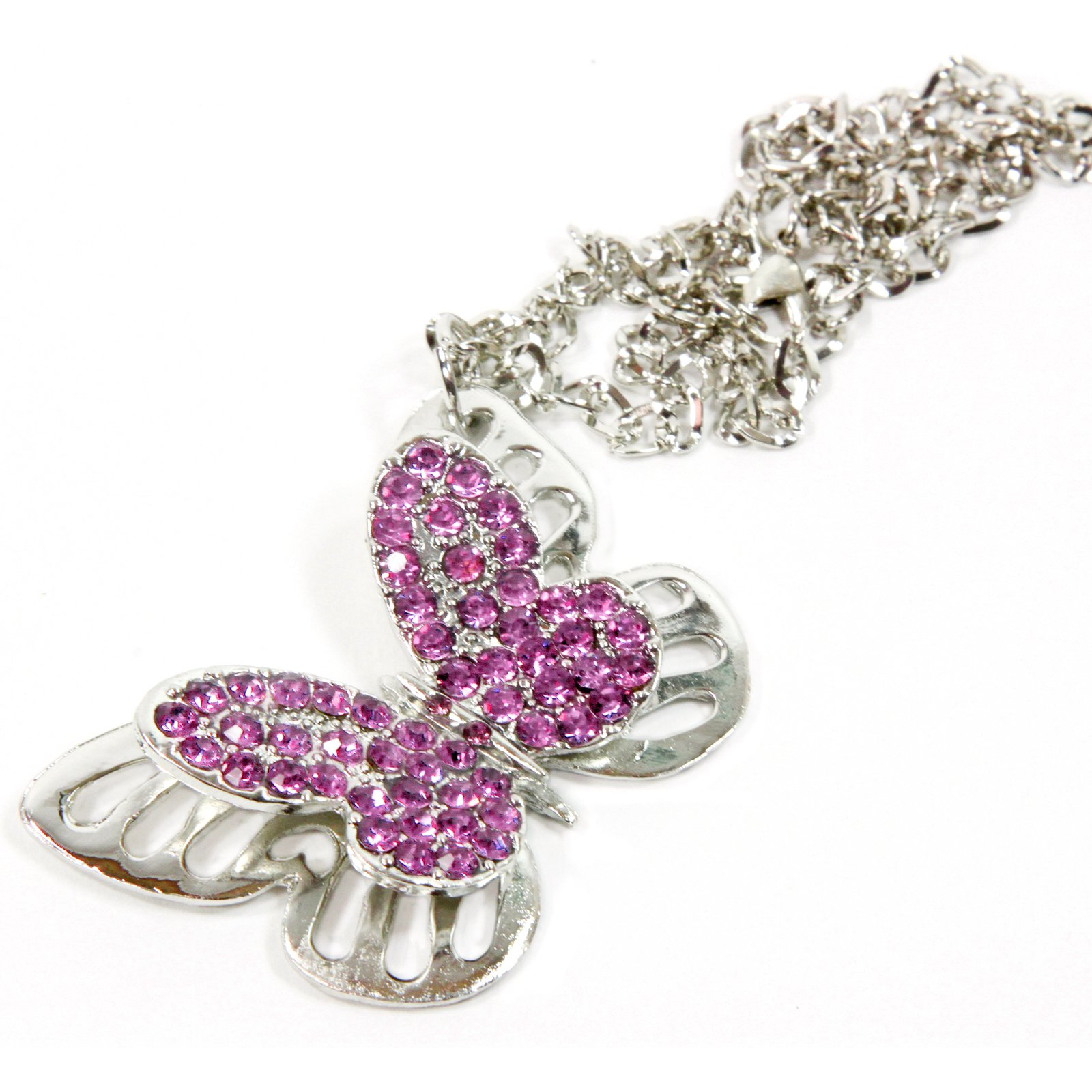 Red Hound Auto Silver Bling Butterfly Mirror Car Charm Hanger Ornament Pink Rhinestones with Chain