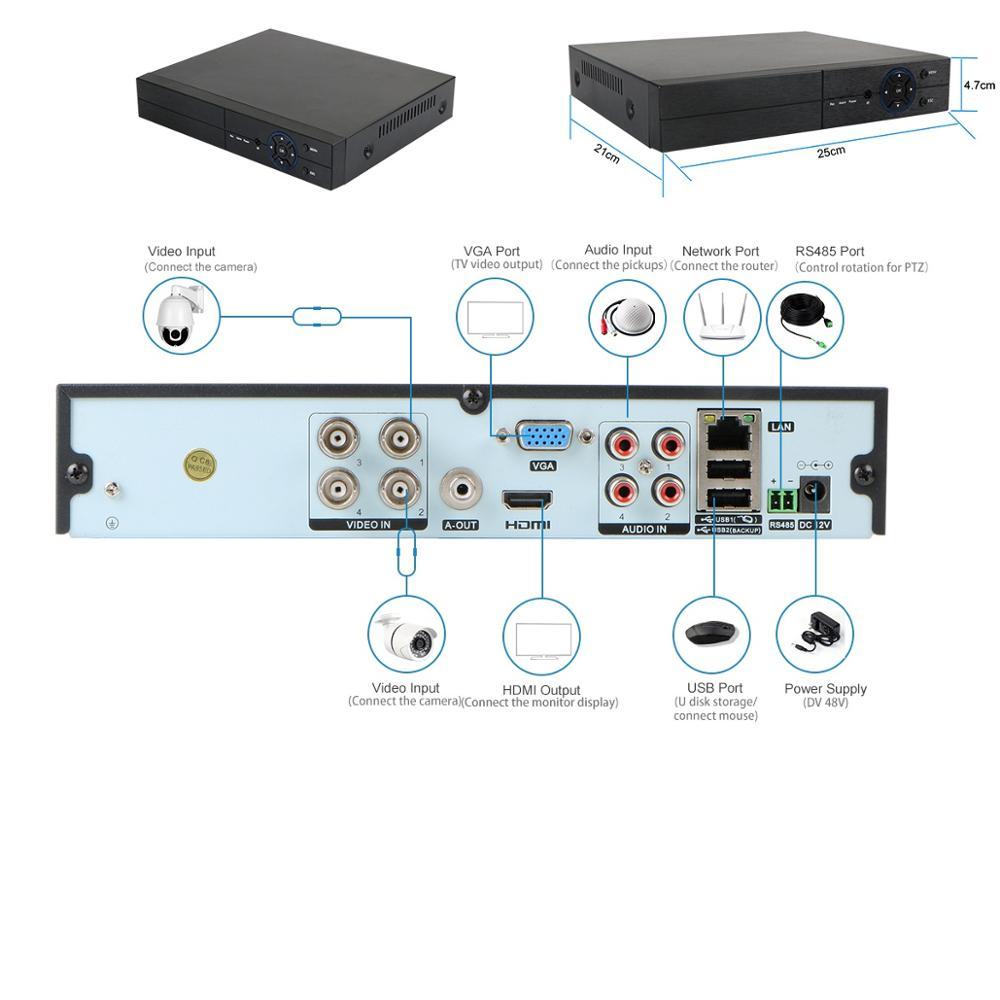 4CH 5MP H265 6-in-1 HD Analog Surveillance Security System Digital Video Recorder cctv dvr