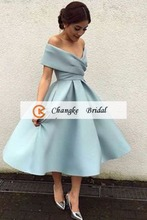 2017 High Quality New Arrival Satin Pleats Tea Length Ball Gown Custom Made Prom Dresses