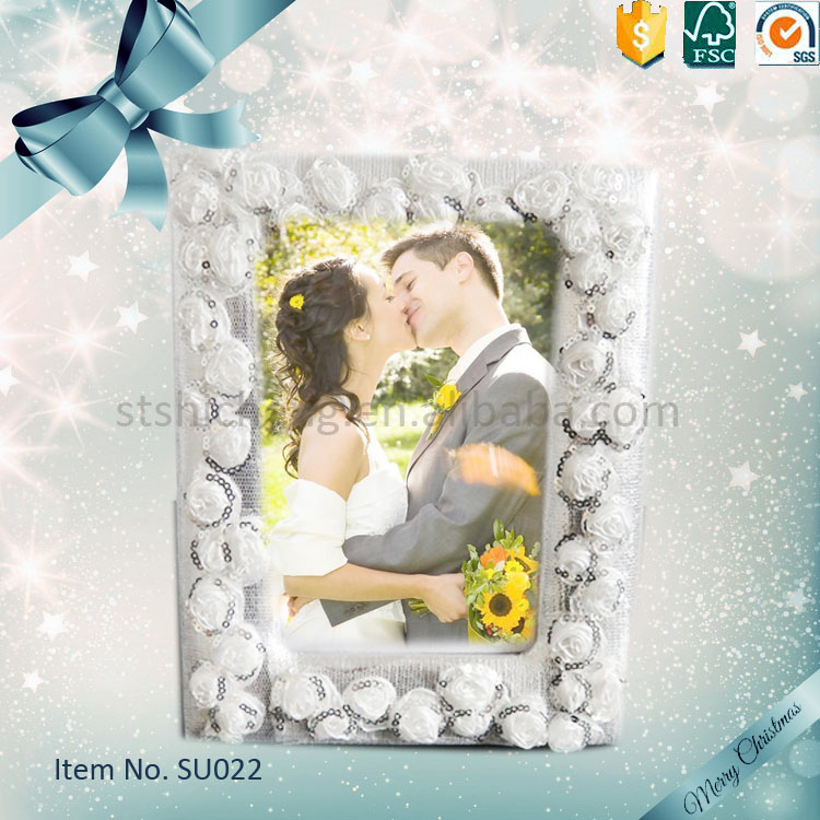 Rectangle Love Large Wedding Photo Frame with decorative flower