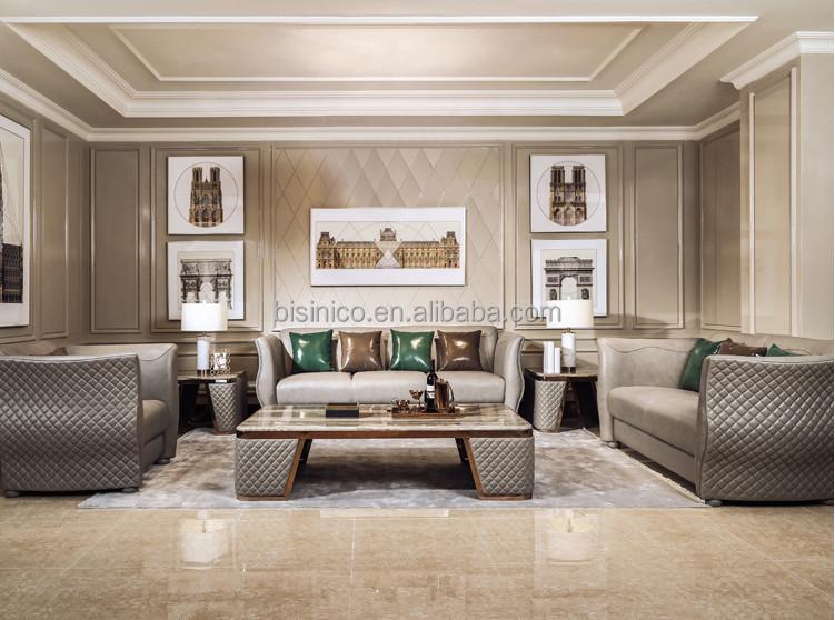Grey Color Genuine Leather Tufted Sofa Set, Special Design Modern Living  Room Leather Sofa(MOQ=1 SET), View grey color leather sofa, BISINI Product  ...