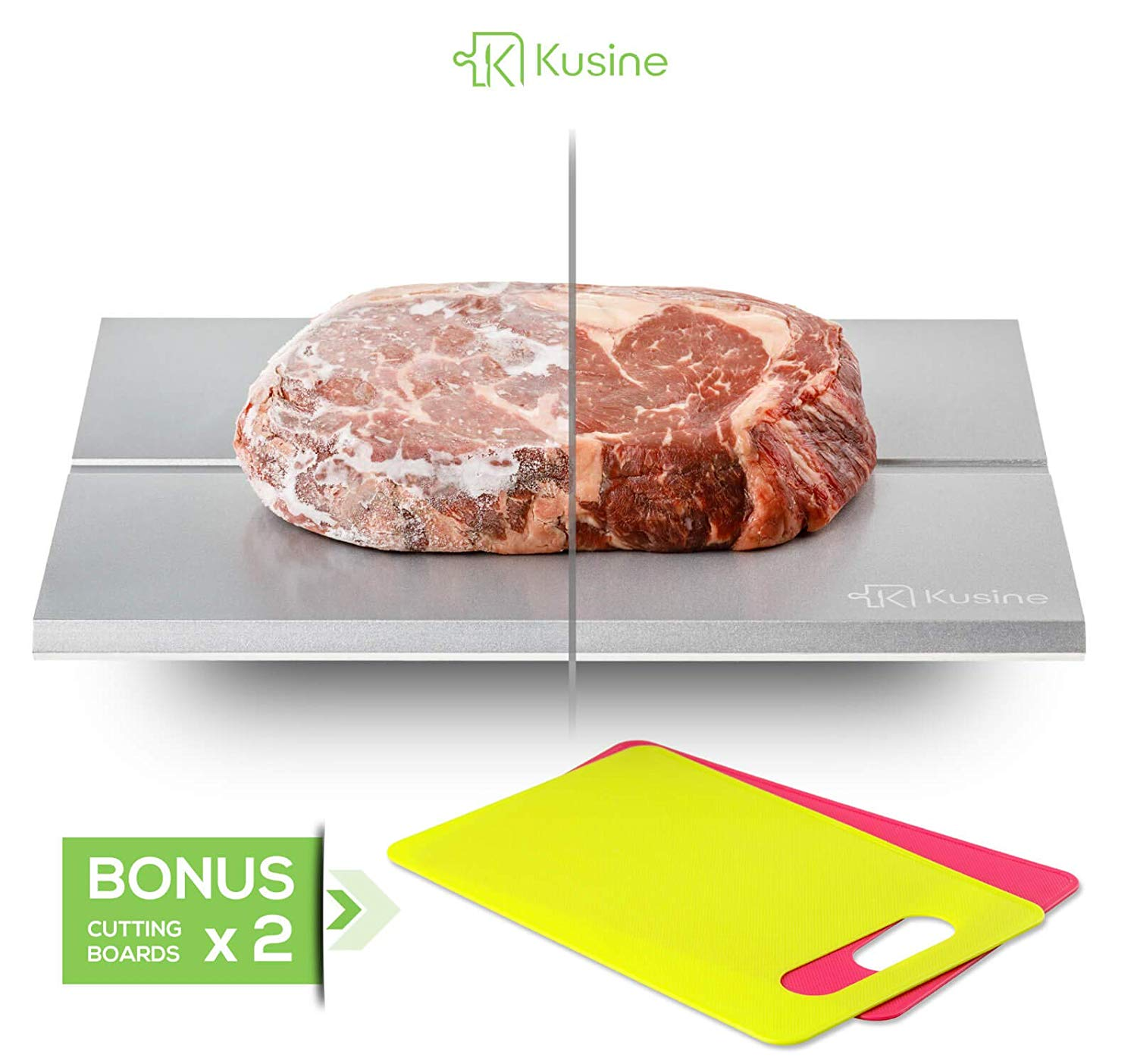Defrost tray and thawing plate. Fast defrosting tray for frozen foods. This rapid meat thawing tray works like magic! DISHWASHER SAFE with TWO BONUS cutting boards