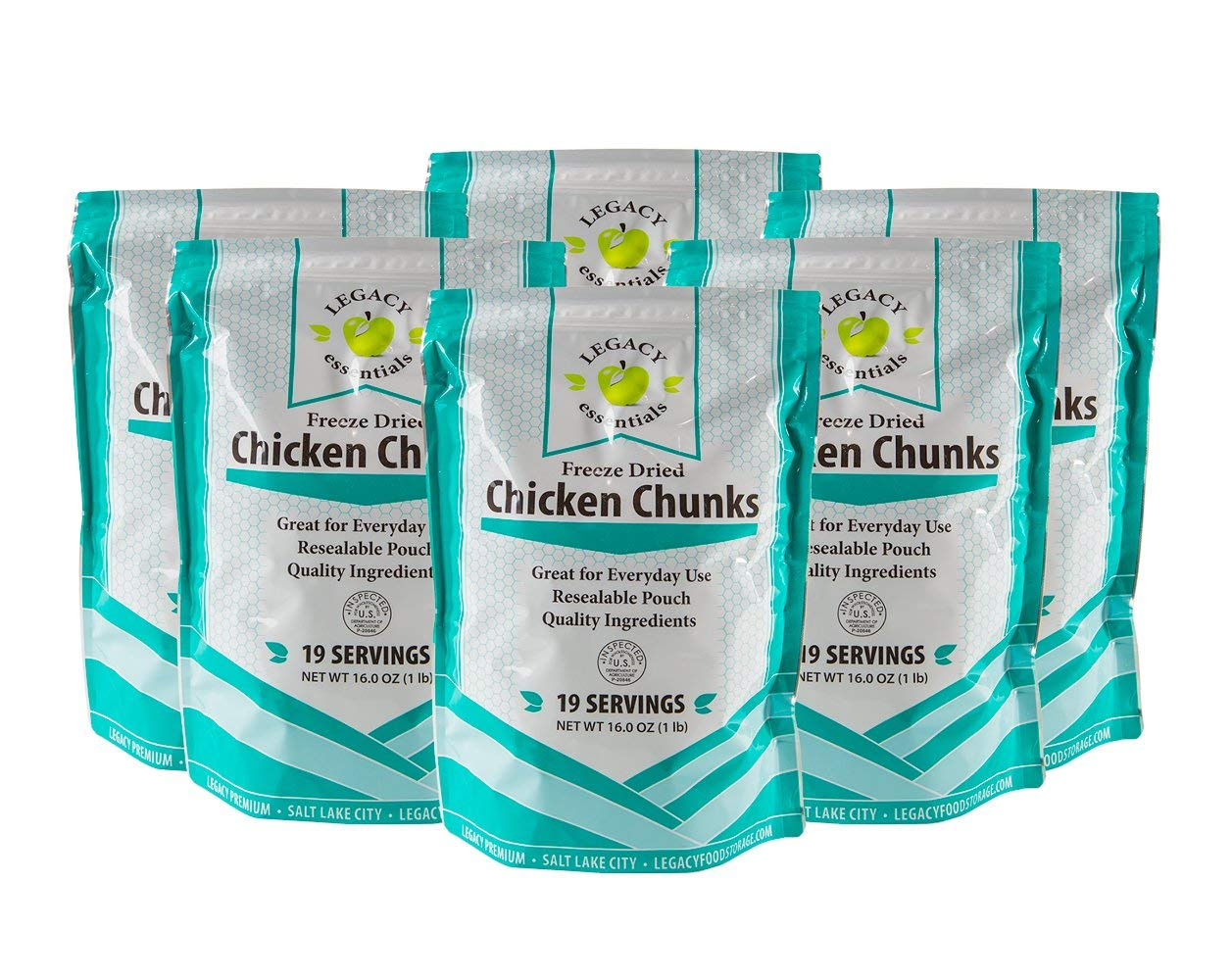 Freeze Dried Chicken Supply: Emergency Food Storage Chicken Dices - Survival Prepper Meat / Camping / Hiking / RV / Fishing (Quantity 6)