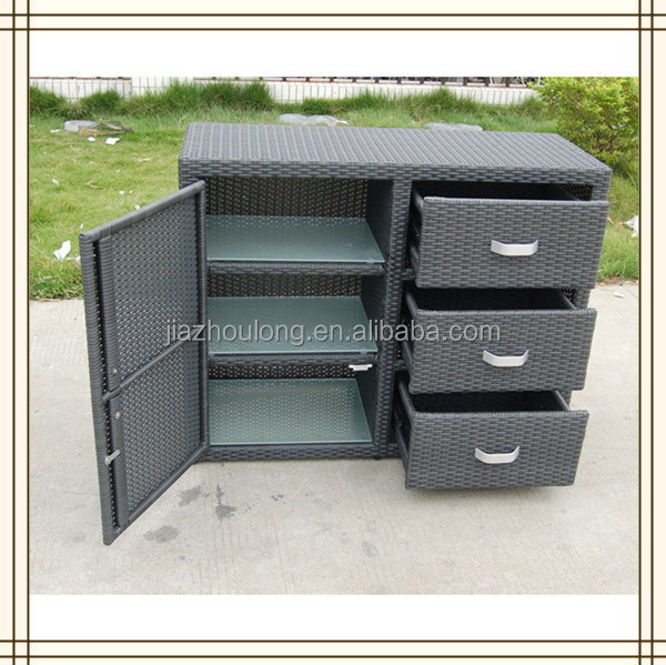 3 schublade grau rattan outdoor schrank a804 andere. Black Bedroom Furniture Sets. Home Design Ideas