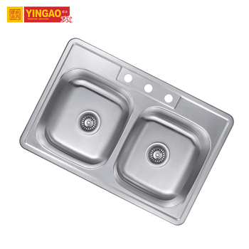 Japan Style Corner Kitchen Sinks SS304 Double Bowl Kitchen Sink with Drainboard